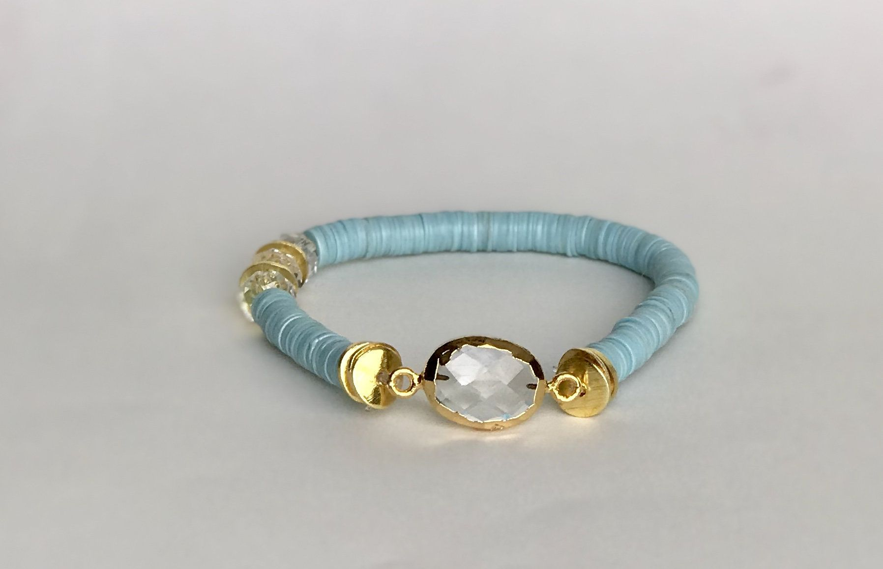 6mm Turquoise Disc Bracelet With Clear Electroplated