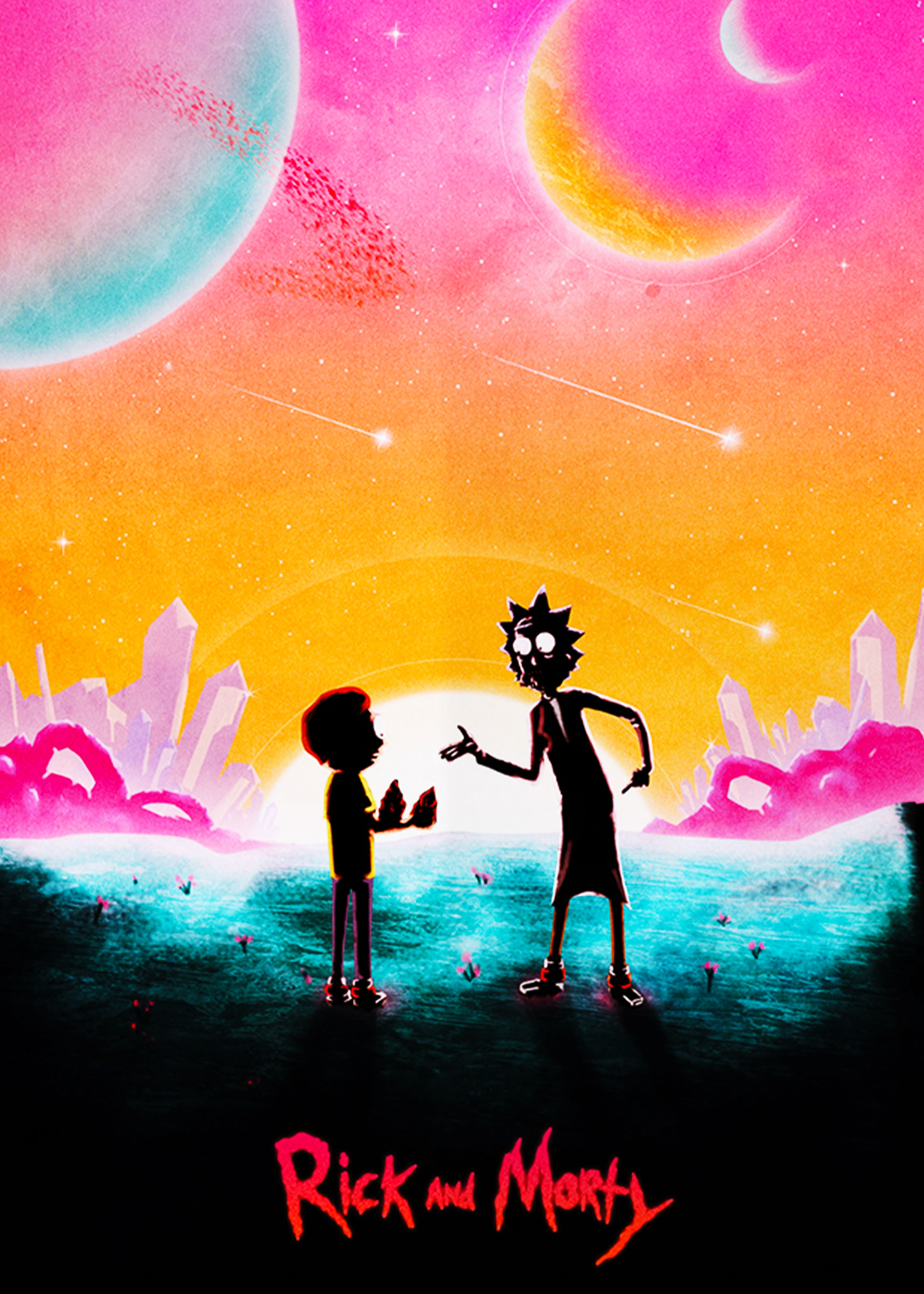 Rick And Morty On Planet Poster In 2021 Rick And Morty Poster Rick And Morty Trippy Aesthetic