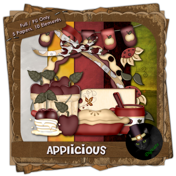 Applicious - Fall themed digital mini scrap kit composed of 5 (3600 x 3600 pixel, .jpg) papers and 10 .png elements.  300 DPI. Personal use only.