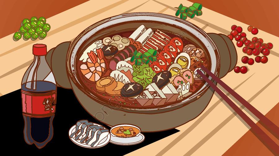Gourmet Hot Pot Cartoon Illustration Food Cartoon Illustration Illustration Image On Pngtree Free Download On Pngtree Food Artwork Cute Food Drawings Hot Pot