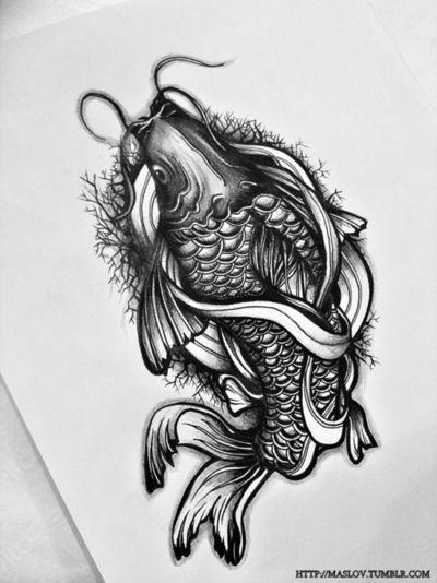 Like the shading and background. Koi tattoo