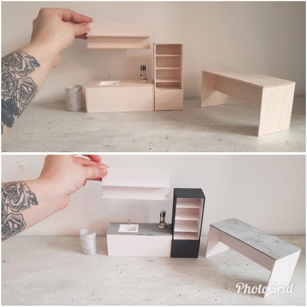 Miniature kitchen dollhouse modern diy #miniaturekitchen