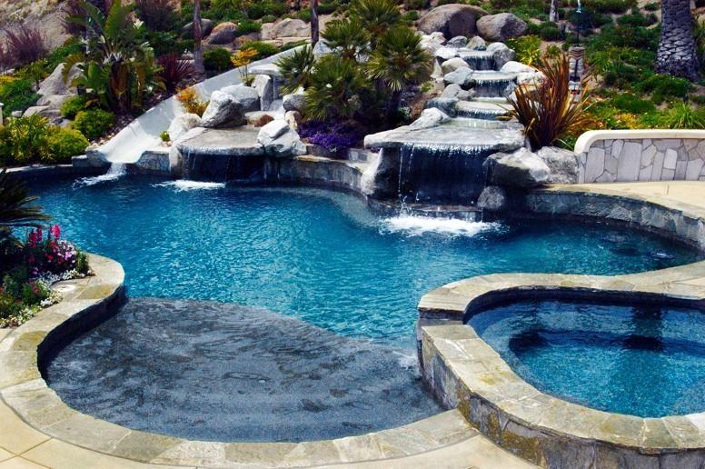 Pin by Bryan Mattes on pools,patios, outdoor furniture | Pool waterfall,  Swimming pools backyard, Luxury swimming pools