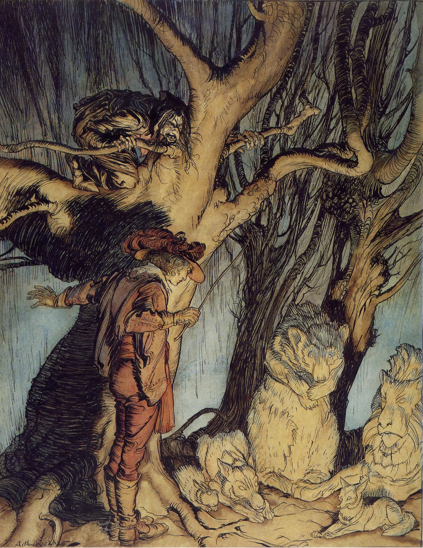 "Arthur Rackham: ""Instantly they lay still, all turned into stone."""