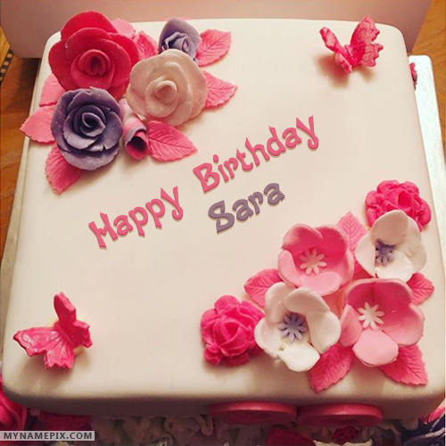 Pleasant The Name Sara Is Generated On Beautiful Birthday Cake For Girls Personalised Birthday Cards Cominlily Jamesorg