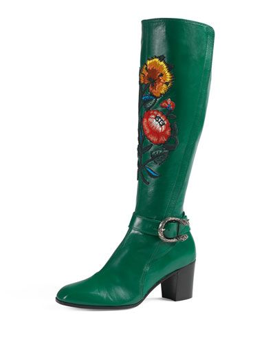 d348d59b6 X34Q9 Gucci Dionysus Embroidered Knee Boot, Emerald | shoes | Boots ...