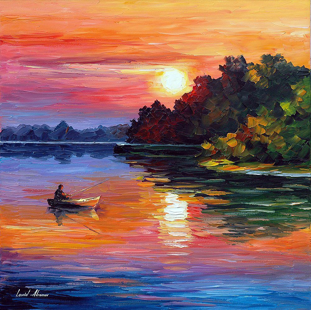 Fisherman Palette Knife Oil Painting On Canvas Oil Painting Nature Art Painting Oil Oil Painting Landscape