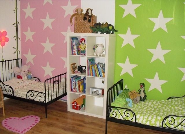 wandfarben ideen kinderzimmer geschwister rosa gr n sterne muster kinderzimmer pinterest. Black Bedroom Furniture Sets. Home Design Ideas