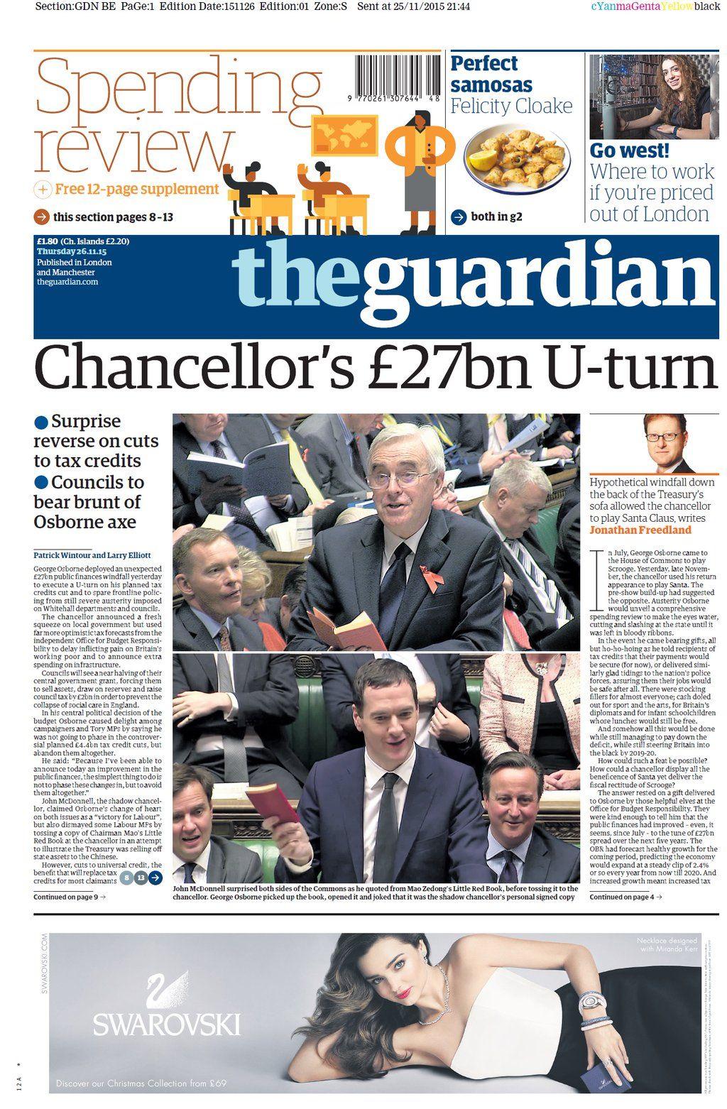 Thursday's Guardian: Chancellors 27bn U-turn #tomorrowspaperstoday #bbcpapers #spendingreview https://t.co/1dzMLSDeus