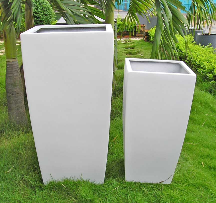 Toulan Planter White Set Of 2 Small Large Outdoor Planters Contemporary