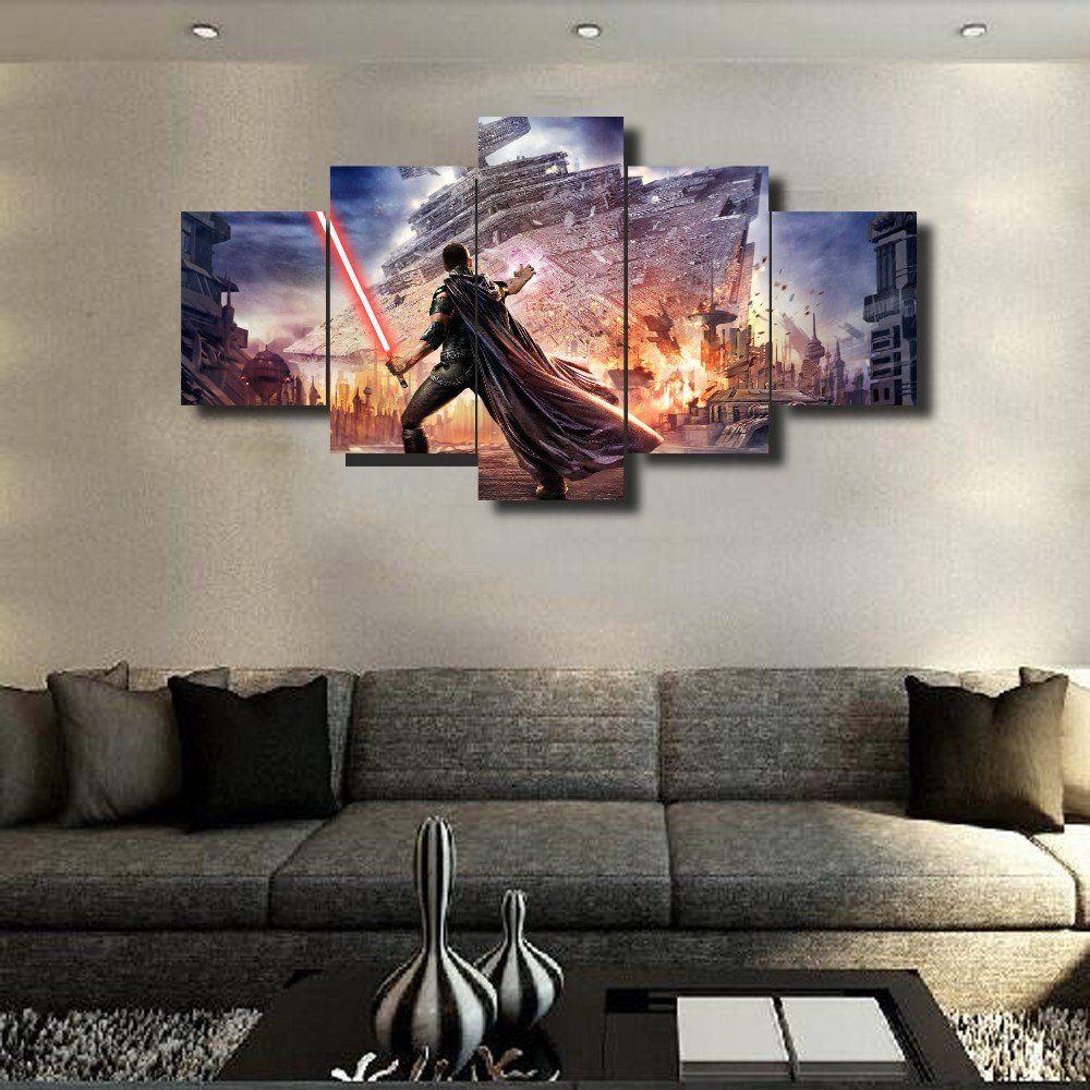 Star Wars Stop The Crash 5 Panel Star Wars Canvas Art Panelwallart Com Star Wars Canvas Art Star Wars Wall Art Star Wars Canvas Painting