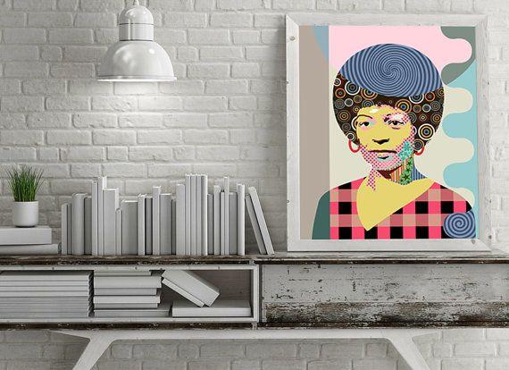 Angela Davis Pop Art Portrait Political Activist Black Panthers History African