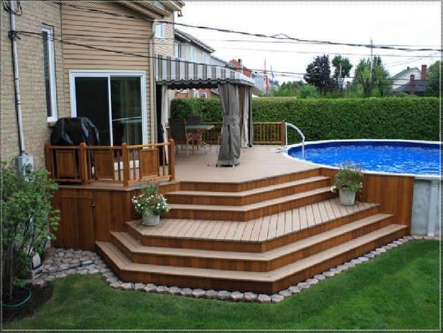 this could be our sunroom steps with the secondary set going around the corner for the above ground pool