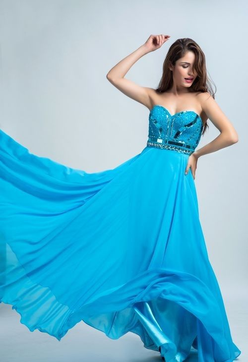 Strapless Sweetheart Long Turquoise Chiffon Beaded Flowing Prom
