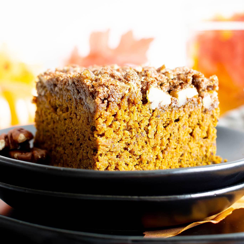 Easy Gluten Free Vegan Pumpkin Coffee Cake Recipe (V, GF