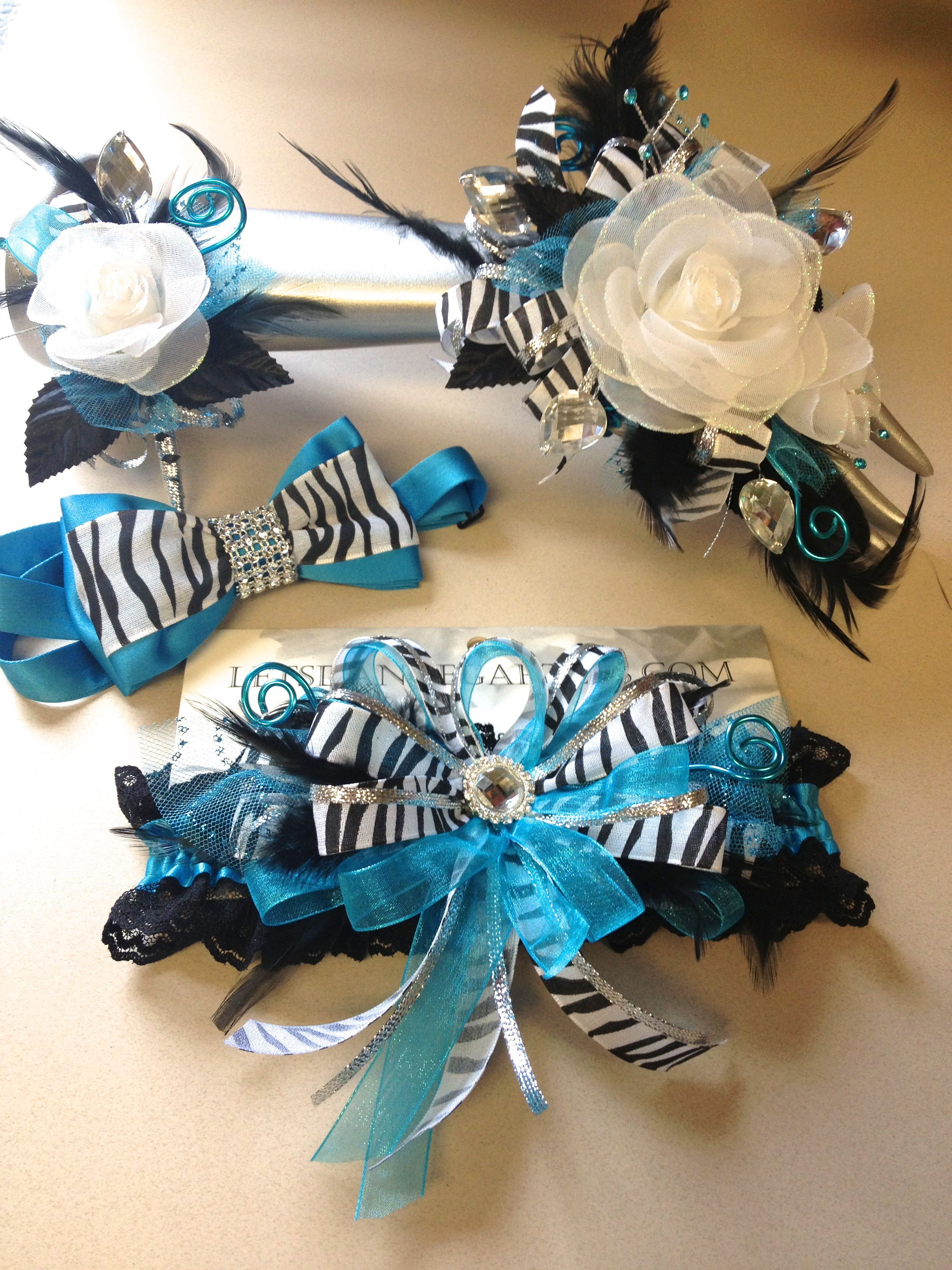 Turquoise And Black Prom Corsage Garter Matching Bow Tie Letsdancegarters