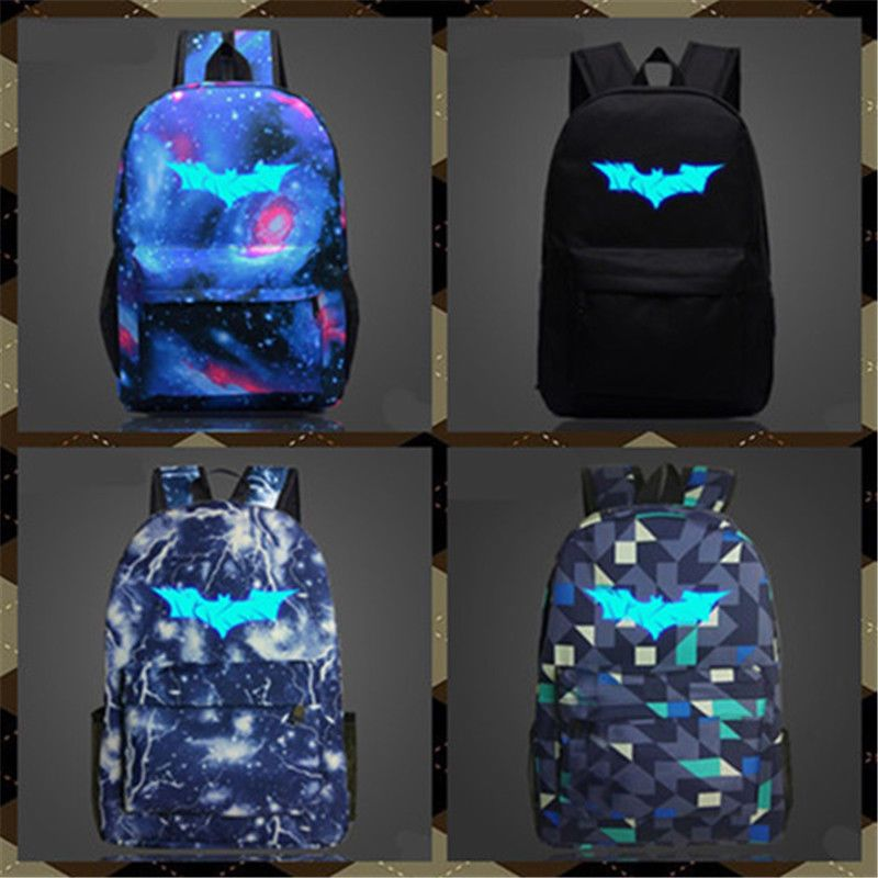 Batman Backpack Night Luminous School Book Bag Nylon Xmas Gift For Kids Boy  Girl 286539265af05