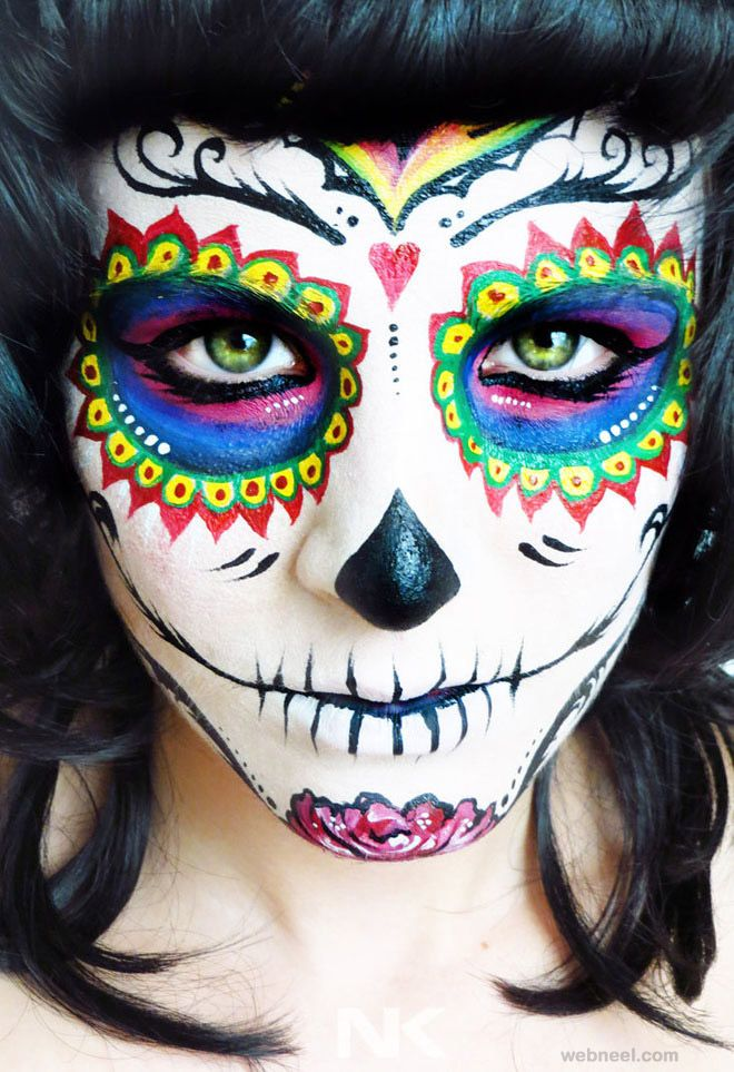 40 beautiful face painting ideas from top artists around the world - Skeleton Face Paint For Halloween