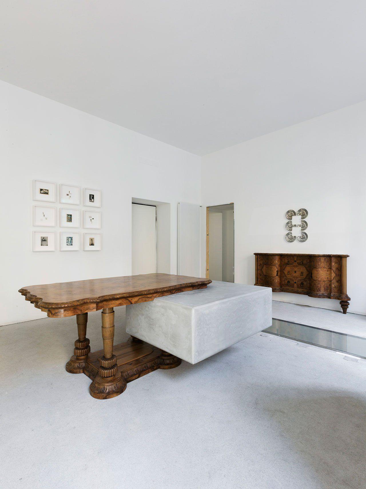 Attirant Nucleo (Piergiorgio Robino + Marzia Ricci), U201cBooleanu201d And (Table), 2017.  Concrete, Vintage Furniture, 204 X 142 X 80h Cm. Unique Piece.