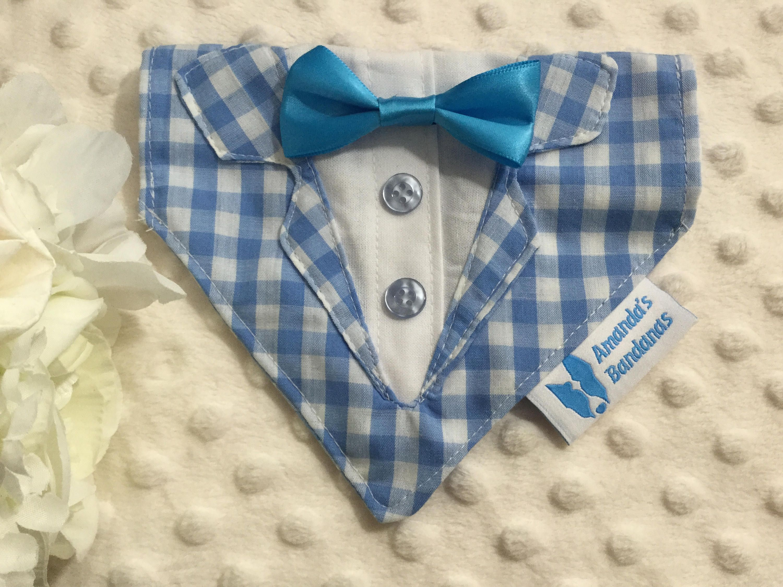 Blue plaid Dog Tuxedo Collar Bandana | Dog, Dog collars and Cat