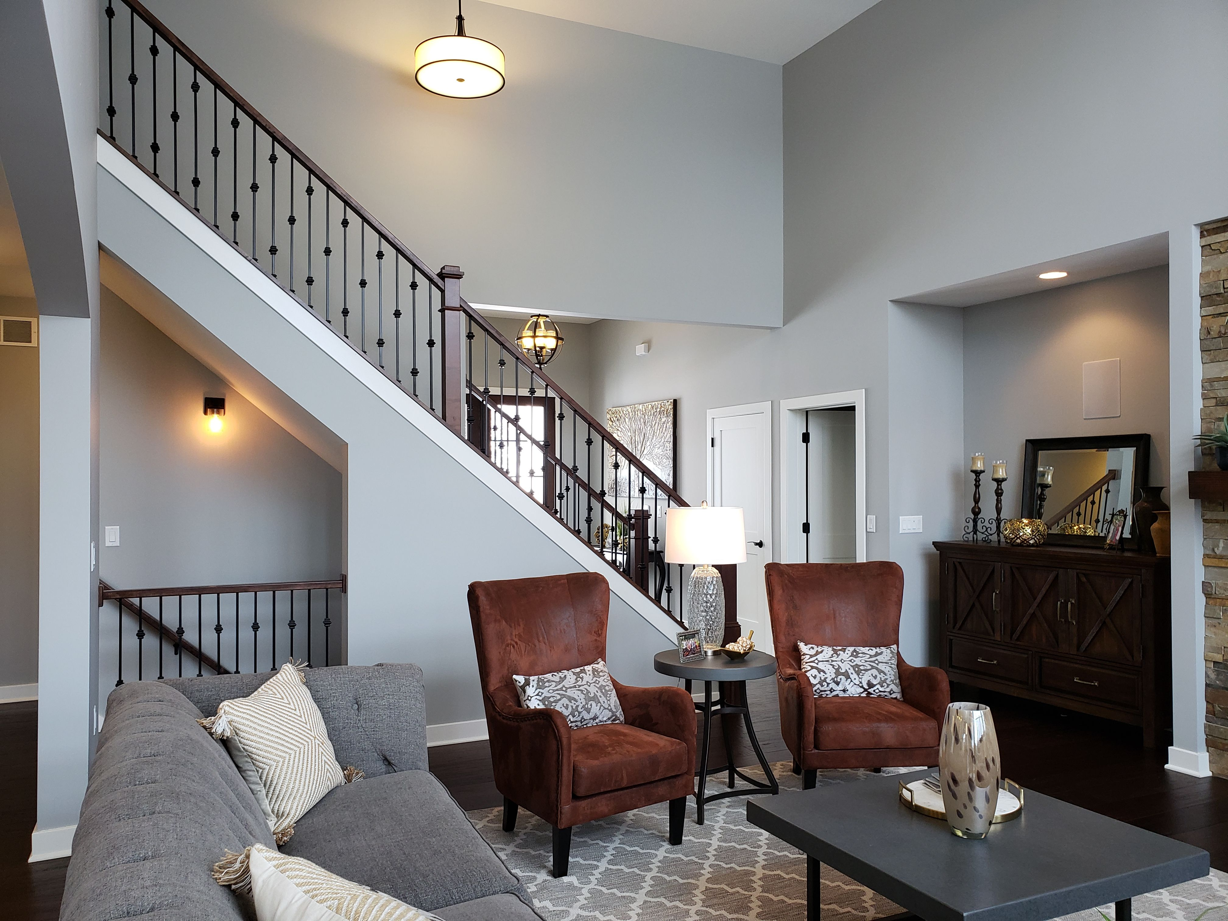 Two Story Living Space Open Staircase Gray Paint Color Open Staircase Home Decor Living Spaces