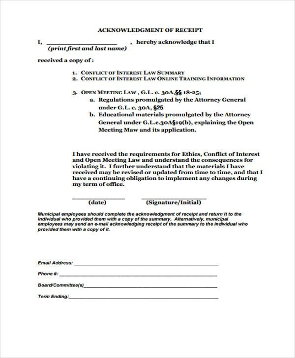 11  acknowledgement receipt templates