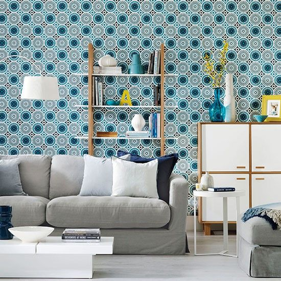 Living Room With Blue Circles Wallpaper Decorating Ideal Home Housetohome