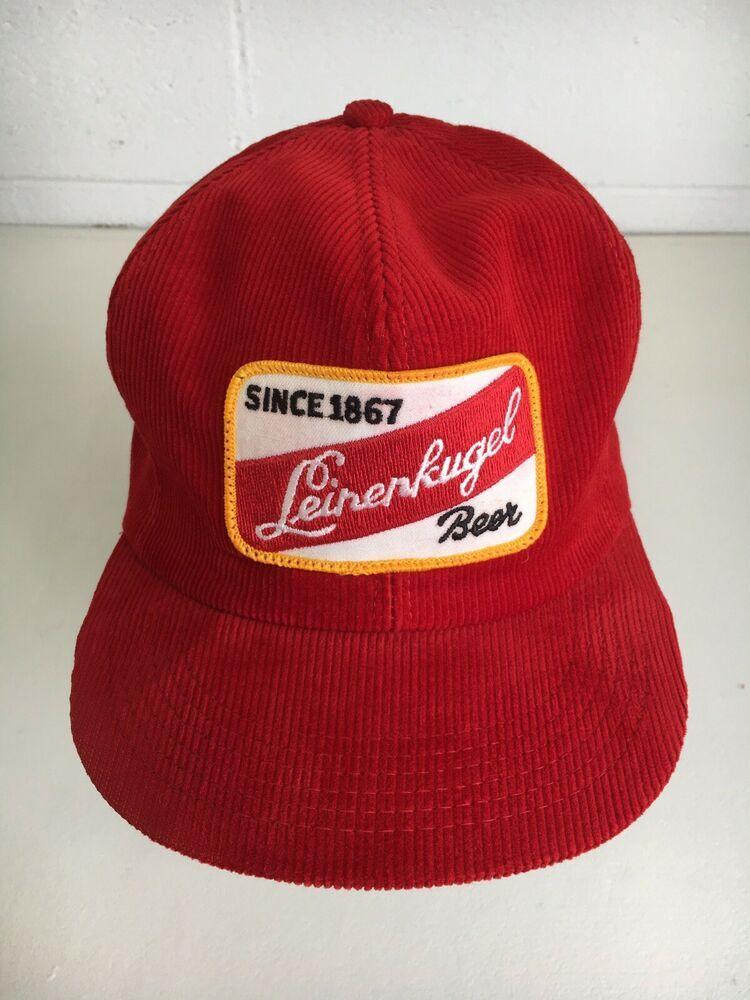 668f287b60d Leinenkugal Beer Hat K Brand Vtg 80s Corduroy Red Trucker Wisconsin Snapback   KBrand  TruckerHat