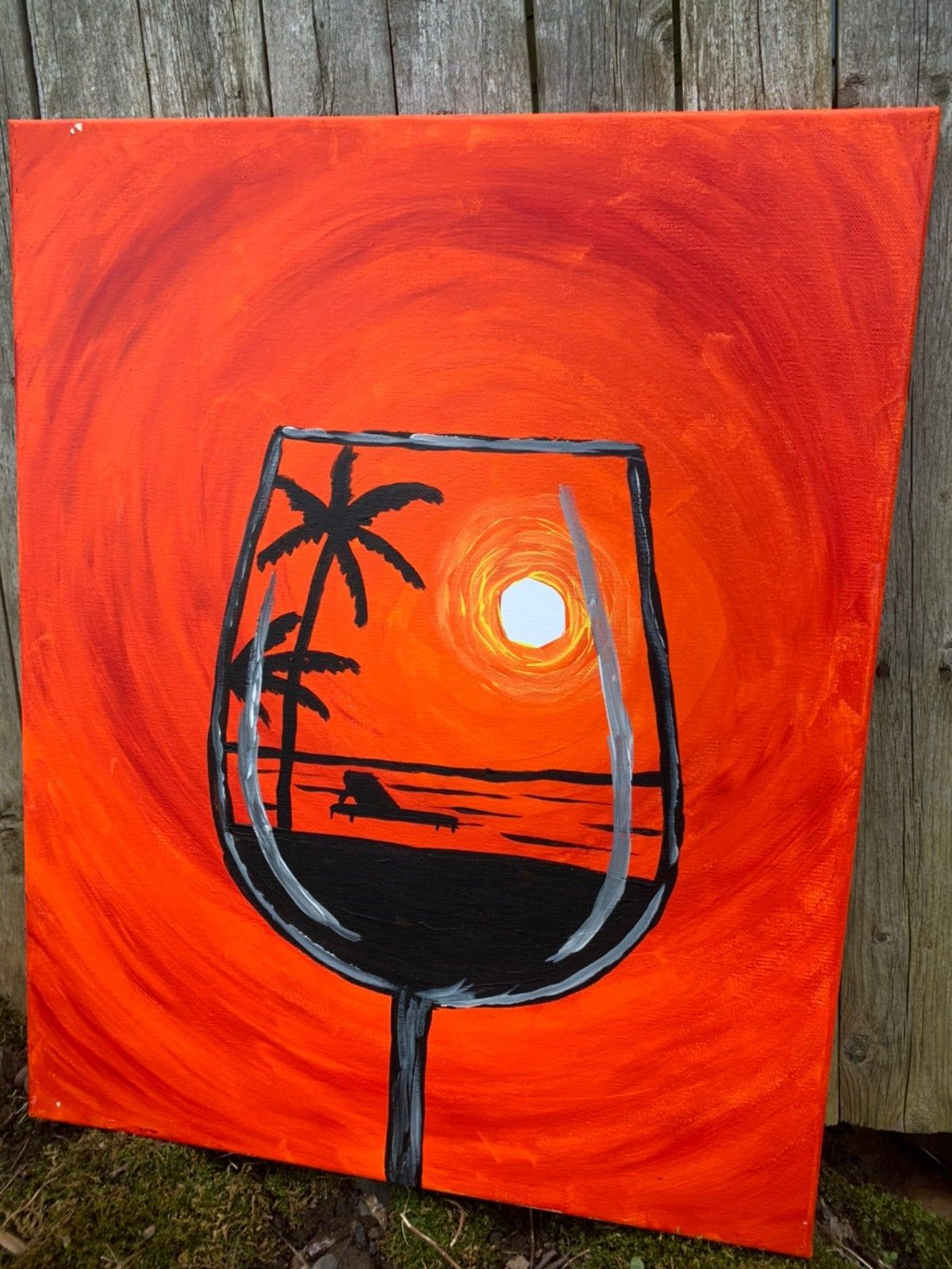 Tropical Wine And Beach Canvas Painting In 2020 Painting Wine Painting Beach Canvas Paintings