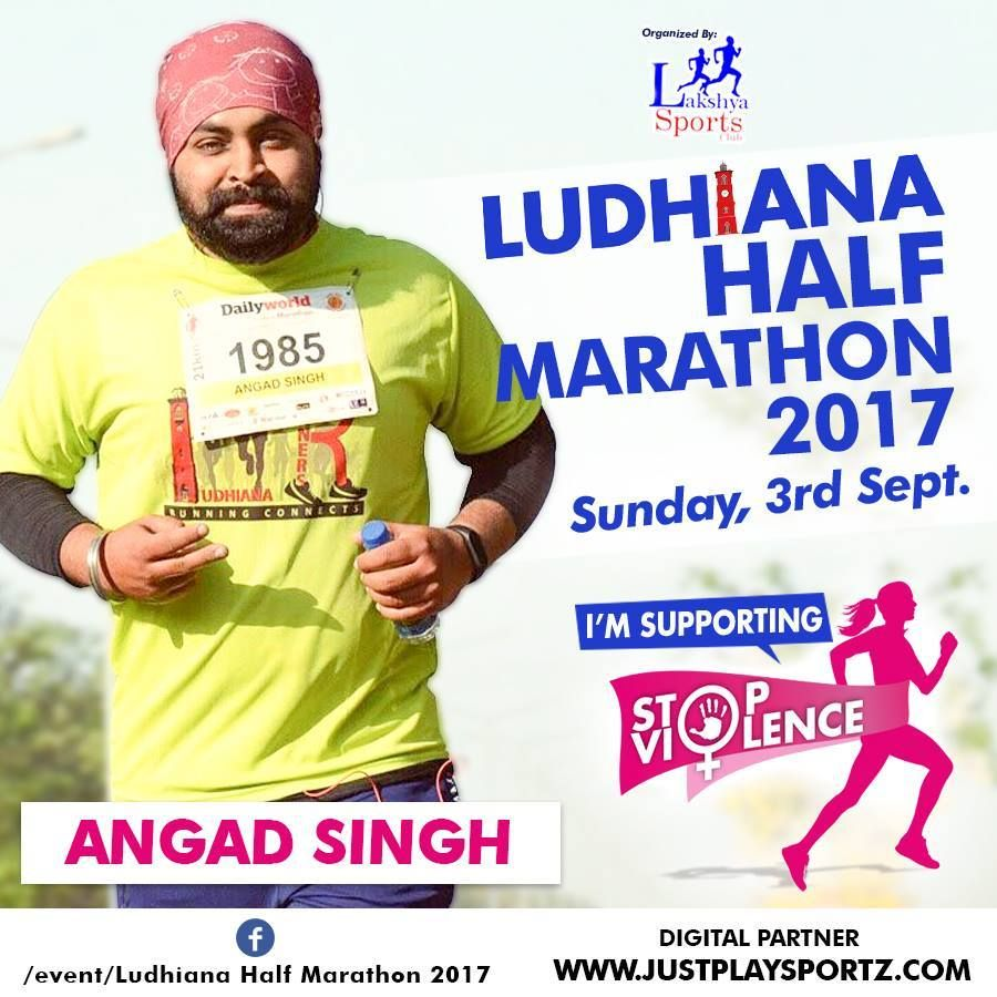 """""""Social justice cannot be attained by violence. Violence kills what it intends to create"""". Pope John Paul II  Run with Angad Singh in Ludhiana Half Marathon 2017 and commit to fighting Gender Inequality and Discrimination which are the main root causes of violence against women."""