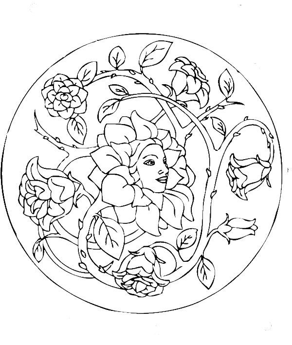 beautiful rose coloring pages mandala