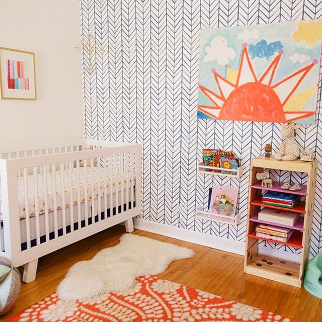 Love the rich texture in this nursery.