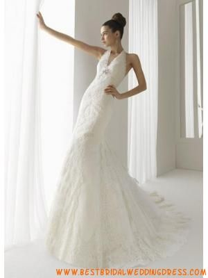 Strapless Classic Halter  backless Bridal Wedding Dress