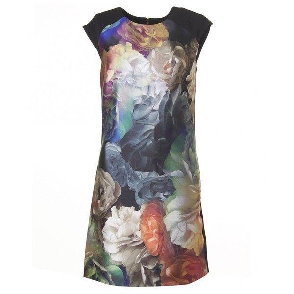 Ted Baker Technicolour Bloom Zip Shoulder Dress (10,670 PHP) ❤ liked on Polyvore featuring dresses, black, black cap sleeve dress, black floral print dress, black dress, floral dress and ted baker