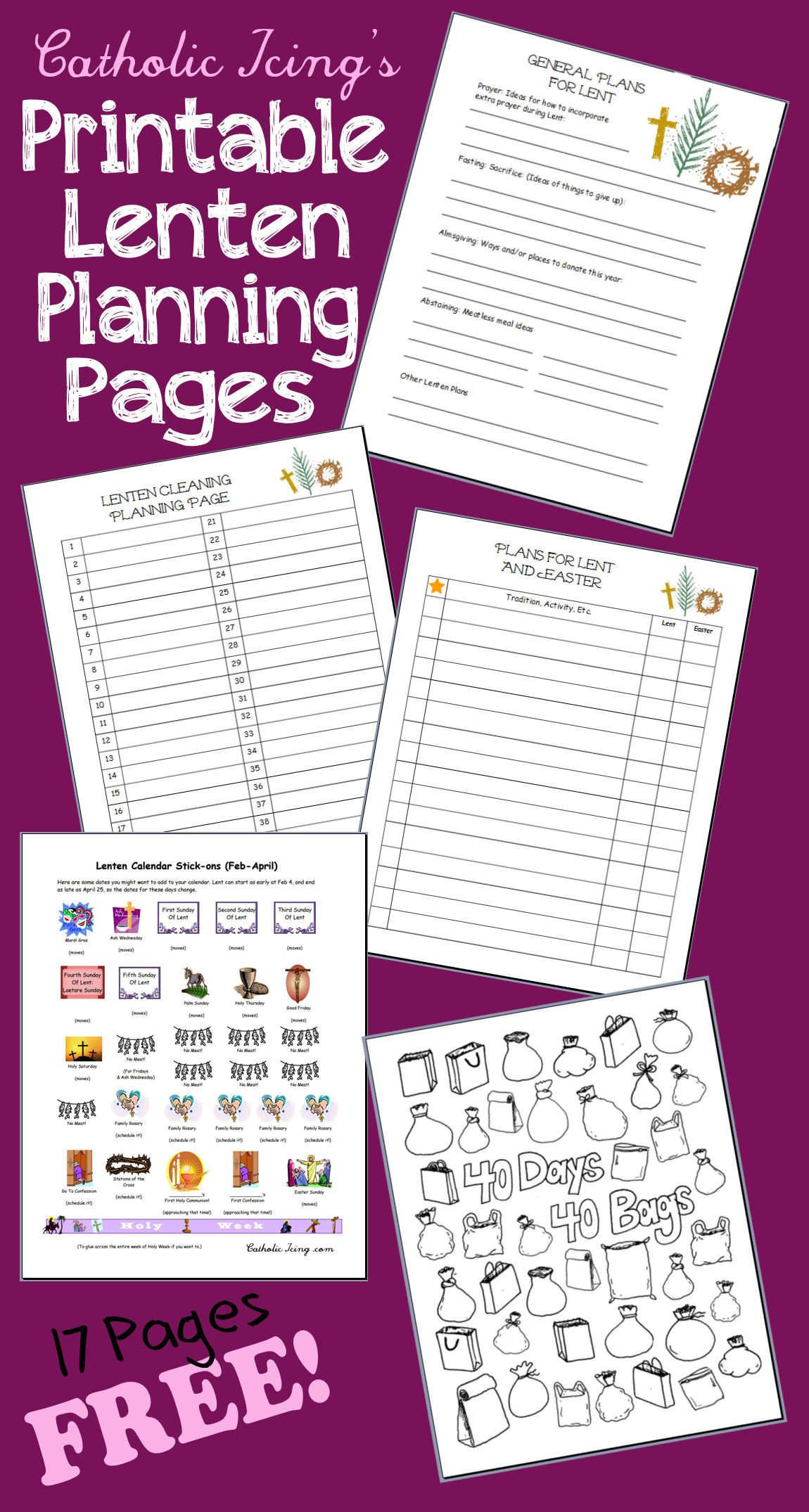 Lenten Planning Pages Free To Print Catholic Icing