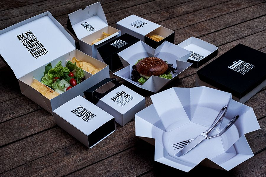 trafiq - packaging. This brand has an innovative use of packaging in different boxes. It has a very typographic logo that feels old-timey and elegant which contrasts with the geometric containers. My favorite box is the one that holds french fries and looks like a pack of cigarettes.