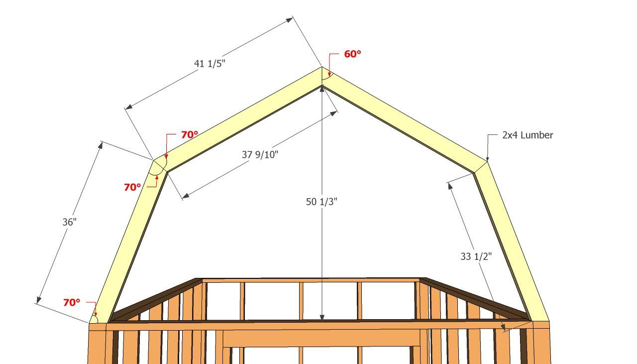 Common angles of shed roof mini homes barn shed plans for Gambrel pole barn plans