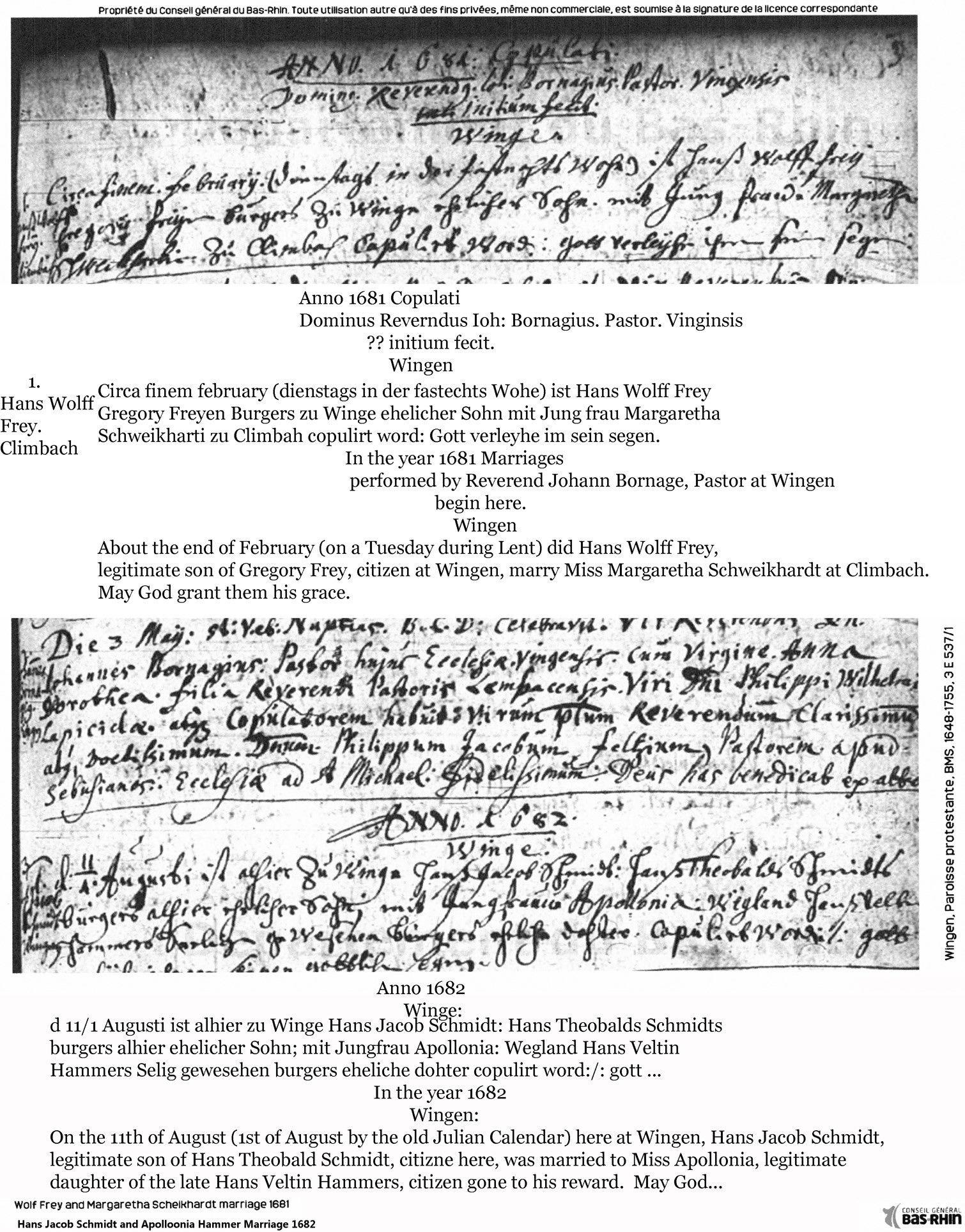Marriages Wolff Frey 1681, Johann Jacob Schmidt 1682 Annotated
