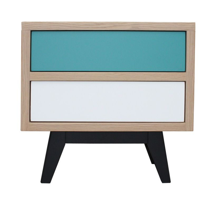 3451 chevet 2 tiroirs dure mesure collection v1ntag3 ch ne blanchi et laqu blanc et bleu canard - Pirotais meubles ...
