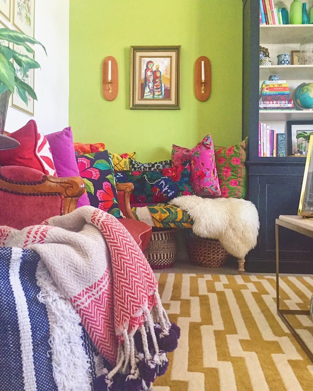 Kilim Bench Colourful Global Eclectic Bohemian Living Space Design Photography By Fait Modern Eclectic Living Room Eclectic Decor Bohemian Living Spaces