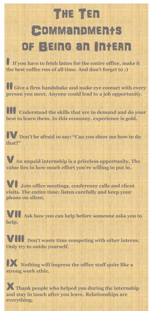 The  Commandments Of Being An Intern  News To Live By  By