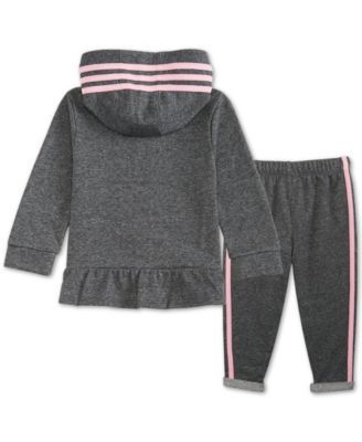 1621950c6c3 adidas Baby Girls 2-Pc. Sparkle Hooded Jacket & Pants Set - Gray 24 months