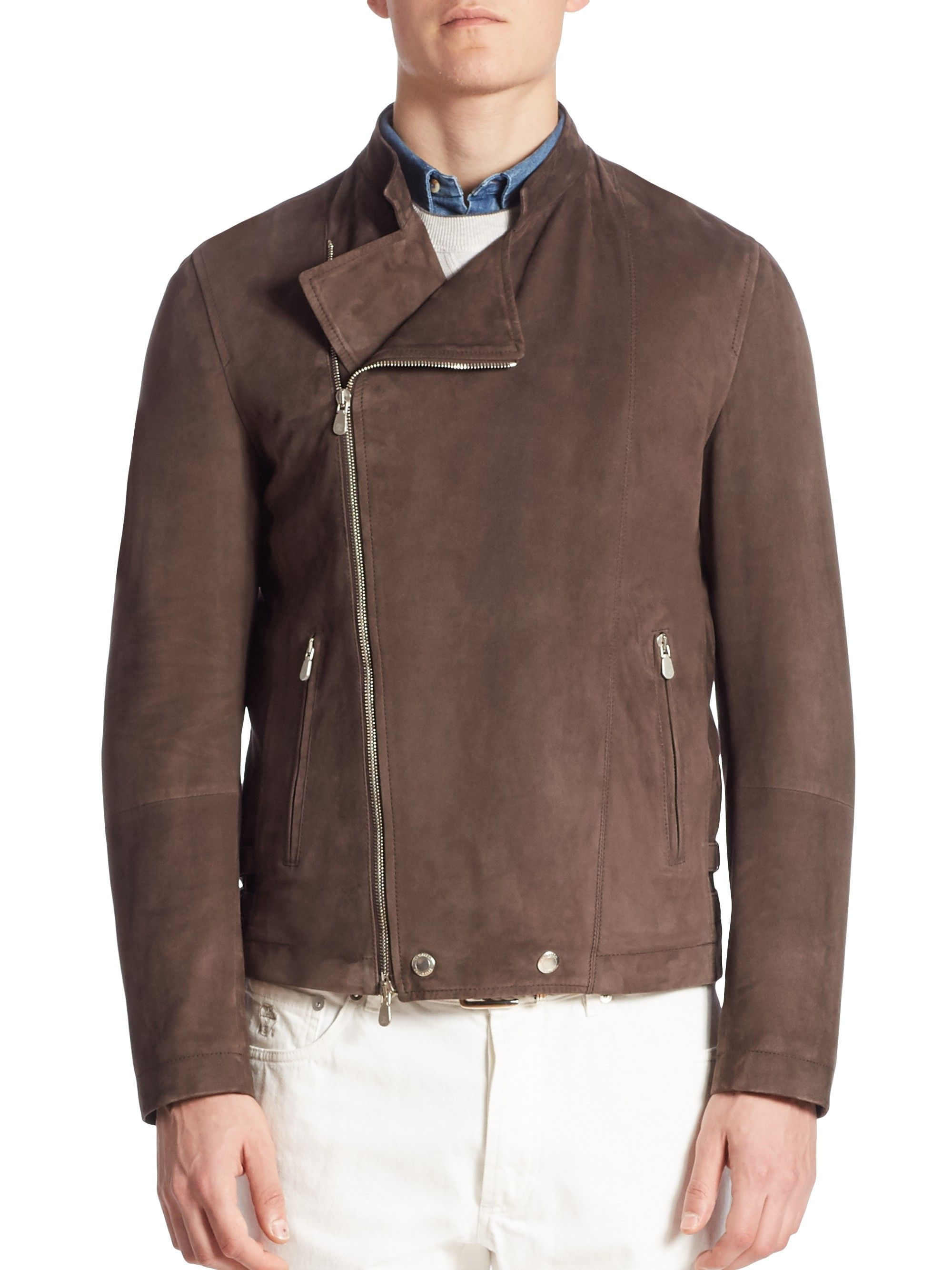 Brunello Cucinelli Suede Asymmetrical Zip Moto Jacket Brunellocucinelli Cloth Jackets Moto Jacket Asymmetrical Zip [ 2667 x 2000 Pixel ]