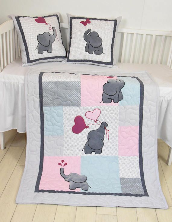 Baby Girl Blanket, Pink Gray Elephant Quilt, Blue Crib