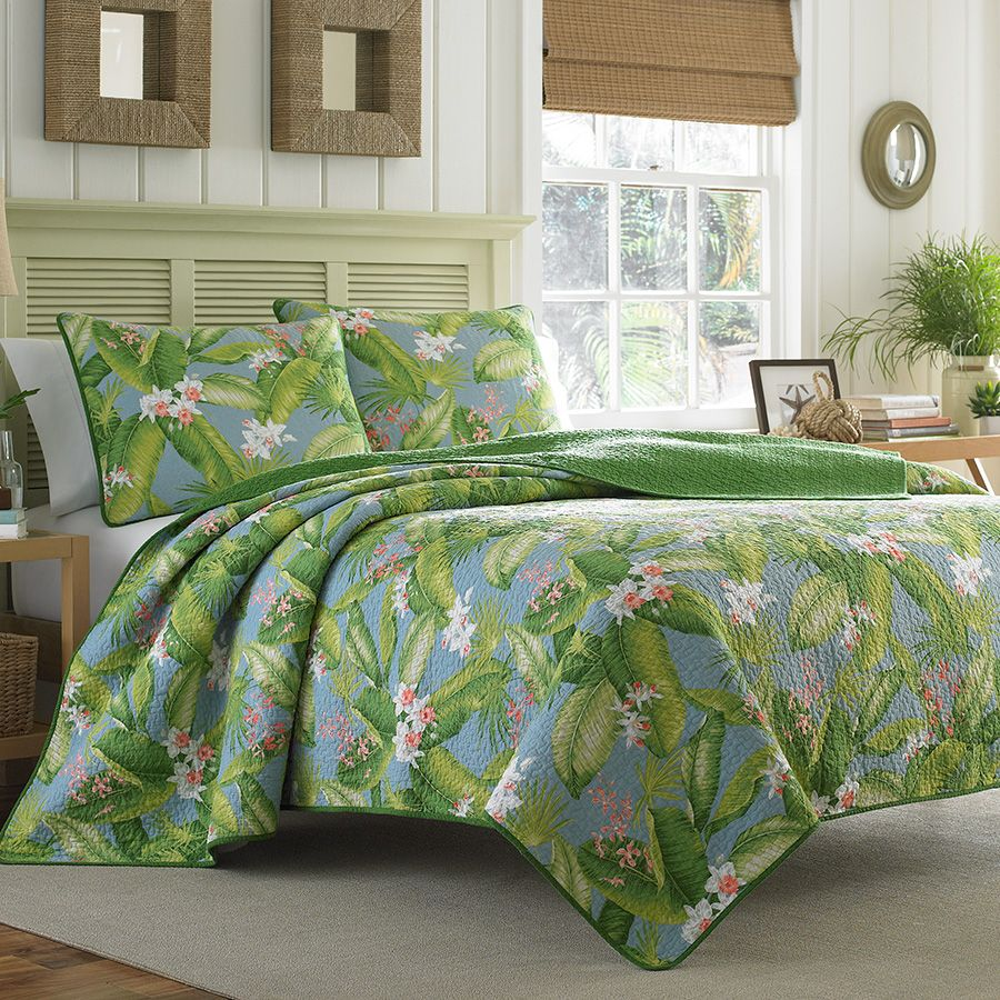 Blue and green paisley bedding - Tommy Bahama Aregada Dock Blue Sky Quilt Set