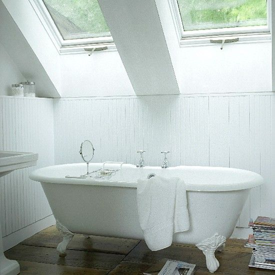 Small White Bathroom The Skylights And White Painted