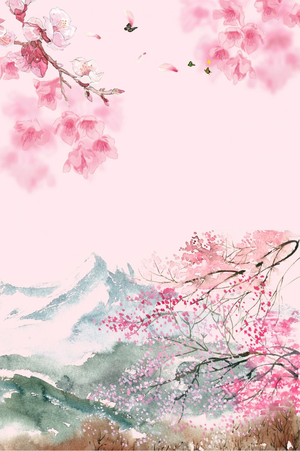 Pink Chinese Style Cherry Blossom Viewing Psd Layered H5 Background Material Cherry Blossom Painting Cherry Blossom Art Cherry Blossom Wallpaper