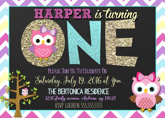 Owl Birthday Invitation Custom Invite By CustomPrintablesNY