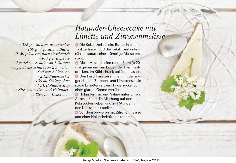 Holunder-Cheesecake mit Limette und Zitronenmelisse