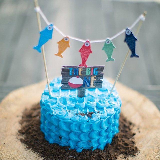 Admirable Fishing Theme Cake Topper Fishing Smash Cake Birthday Cake Funny Birthday Cards Online Eattedamsfinfo